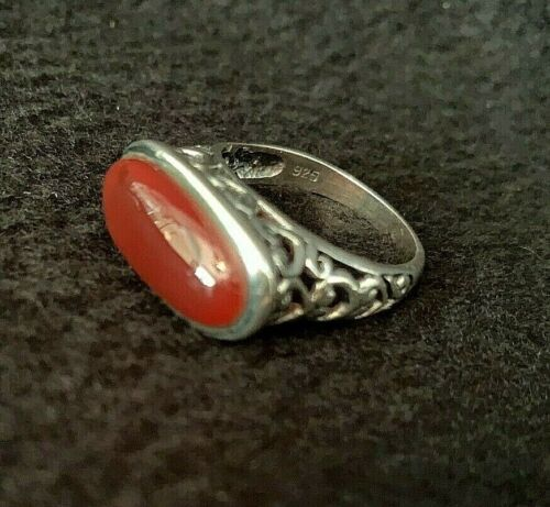 """Sterling silver """"carnelian"""" ring size 9.5 pre-owned excellent condition"""