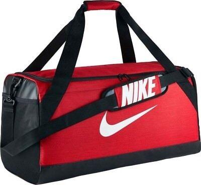 c8c10ce9f43d Nike Brasilia 7 MEDIUM Duffel Bag Gym Travel BA5334 657 Red Black White NWT