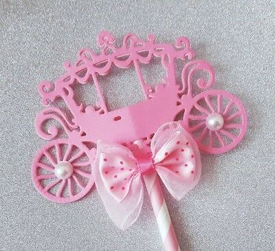 Little Princess Cake Topper Pink Carriage Baby Shower Birthday Party Centrepiece - Princess Carriage Centerpiece