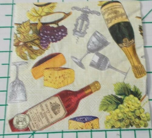 """Two Decorative Cocktail Napkins for Decoupage """"Wine & Cheese"""""""