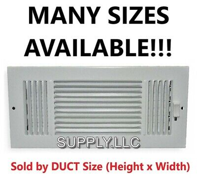 AIR REGISTER VENT COVER GRILLE AC Duct Sizes Wall Ceiling Steel White 3-way Steel Wall Register
