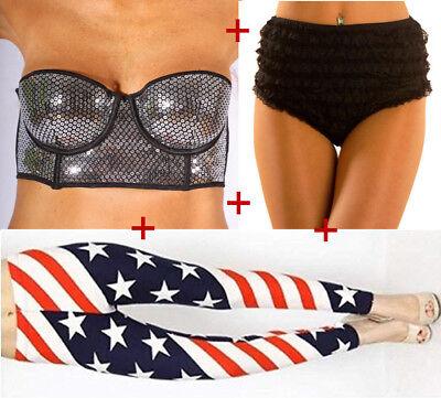 hen, Silber Top, Dessous, american flag leggings 1 Set 3 tlg (Silber Burlesque Kostüm)