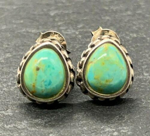 Vintage 925 Sterling Silver Post Stud Earrings Teardrop Turquoise Stones