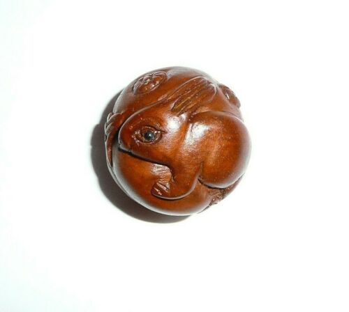 """Cute Hand Carved Bunny Rabbit Round Boxwood Shank Button - Approx. 1"""" diameter"""