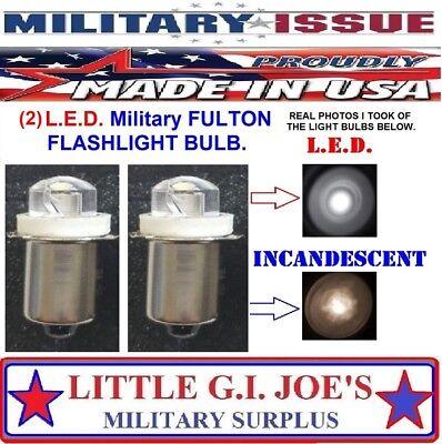 Fulton Military Issue Angle Head Flashlight MX-991/USA L.E.D Light Bulbs (2) Ea. Angle Head Led Flashlight