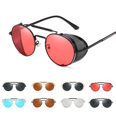 Vintage Steampunk Sunglasses Side Shield Gothic Hipster Round Eyewear (Side Shield Sunglasses)