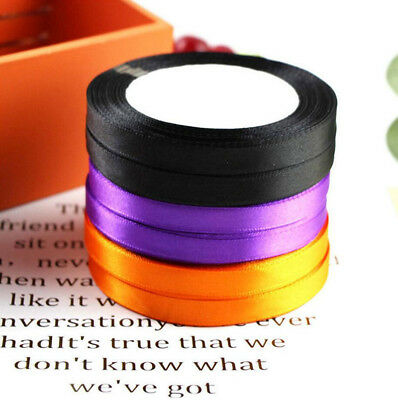 25Yards Satin Ribbon Multi Craft DIY Wedding Ties Bows Halloween Party Decor - Diy Yard Halloween Decorations