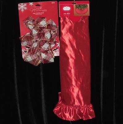"Christmas Tree Skirt & Bow~Metallic Red~Trim a Home~NWT's~48"""