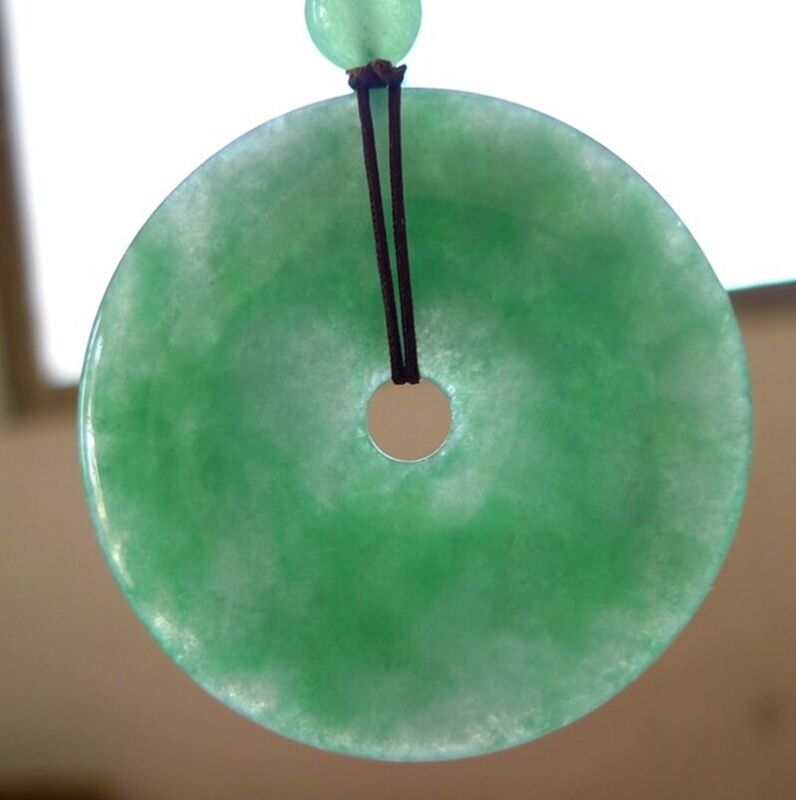 Certified Grade A Burma Icy Yang Green Jadeite Jade Doughnut Pendant Amulet#2282