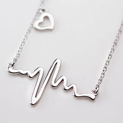 Heart Heartbeat Lifeline Necklace Electrocardiogram EKG Beat Nurse Doctor Love