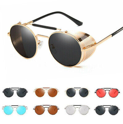 Vintage Retro Side Shield Steampunk Sunglasses Gothic Hipster Round Eye (Brown Hipster Glasses)