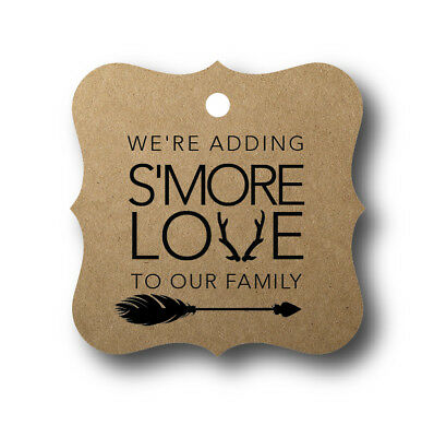 24 We're adding S'More love to our family - Baby Shower Favor Tag