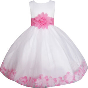 Girls dress white pink flower wedding bridesmaid christmas holiday