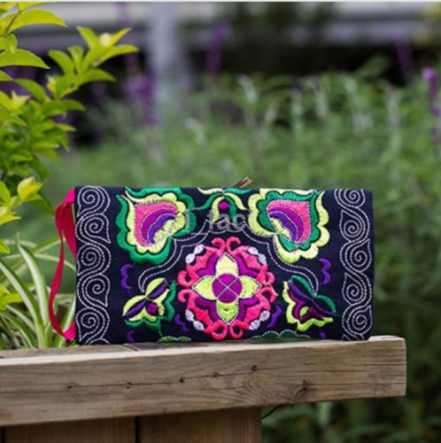 Ethnic Stylish Embroidery Coin Purse Women Clutch Wristlet Floral Phone Bag CA