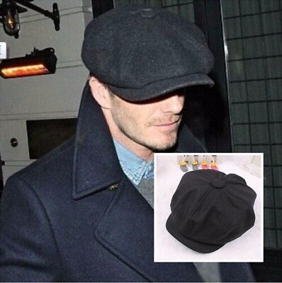 Retro Style Black cabbie Newsboy gatsby Cap Mens Hat Golf Driving Flat Plain (Gatsby Style Male)