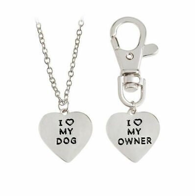 New I LOVE MY DOG/OWNER Heart Pendants Necklace Keycain BFF Friendship Gift - I Love My Bff