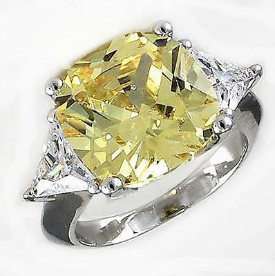 Canary Yellow Cubic Zirconia Ring CZ Cushion Cut Cocktail Accent (Cushion Cut Cocktail Ring)