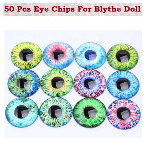 50 Pcs Thin 14mm Eye Chips for Blythe Doll DIY Mixed Pupil Round Glass Cabochon