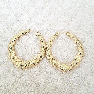 14K Gold Tone Bamboo XO Style Hoop Earrings Door Knocker US SELLER ()