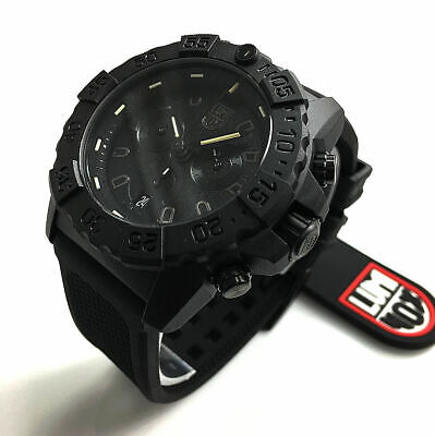 Men's Luminox Navy SEAL Blackout Chronograph Diver's 45mm Watch 3581.BO