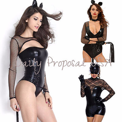 Sexy Catwoman Lace Leather Bodysuit Adult Women Halloween Costume Role Play - Catwoman Adult Costume