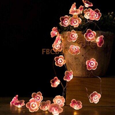 2M LED String Lights Peach Blossom Flower Garland Wedding Christmas Party Lamp
