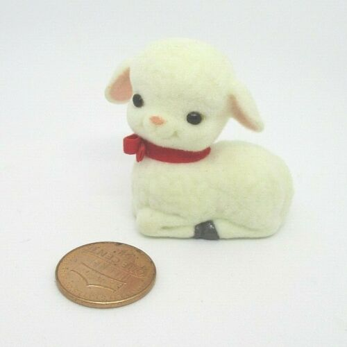 Hallmark Merry Miniatures FLOCKED LAMB WITH RED RIBBON 1990