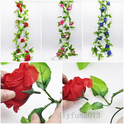 Garland 8ft Rose Flower Ivy Vine Silk Flowers Home Wedding Garden Decor Floral - Rose Garland