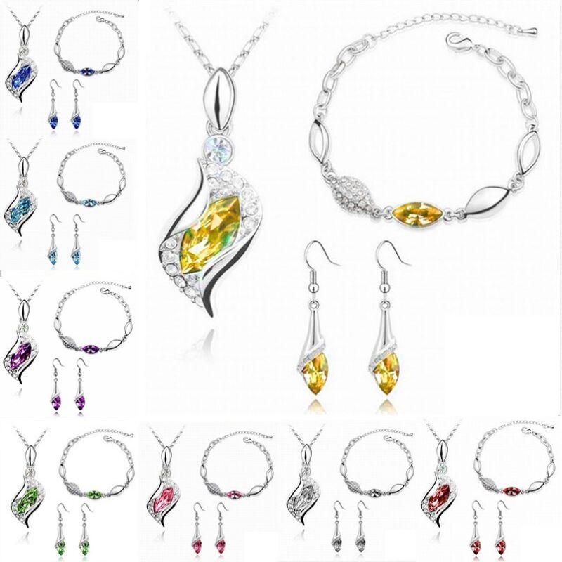 Fashion 18K Gold Plated Rhinestone Leaf Jewelry Set Necklace/Bracelet/Earrings