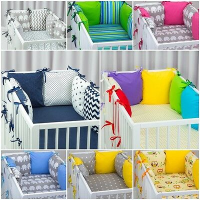 PILLOW BUMPER FOR COT / COT BED made from 6 cushions BEAUTIFUL COLOURS