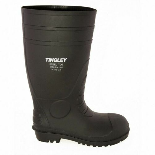 BOOTS, RUBBER, KNEE, STEEL TOE, PVC, BLACK, CLEATED, TINGLEY Size 6 - 14