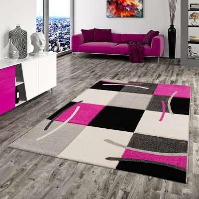 Designer Teppich Maui Schwarz Pink Karo - Pink Schwarz Karo