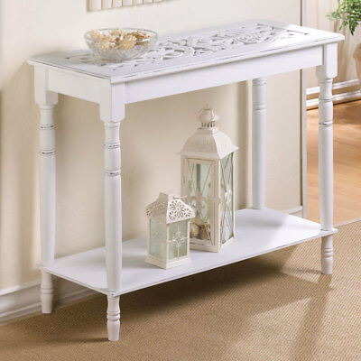 White Sofa Hallway Foyer Table w/Turned Legs Inlaid Carved Top Distressed Finish Distressed Finish Sofa Table