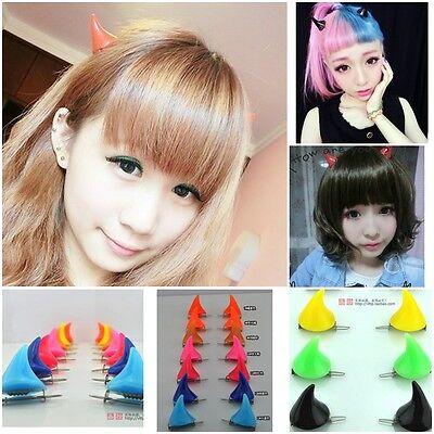 New 2X Halloween Stereo Devil Horns Ears Clip Double Hairpin Corner Hair Jewelry (Devil Ears)