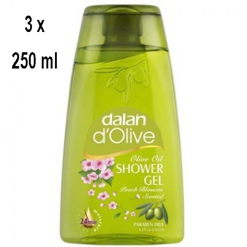 19,93€/L - 3x Dalan d'Olive Duschgel Olivenöl mit Peach Blossom 250ml