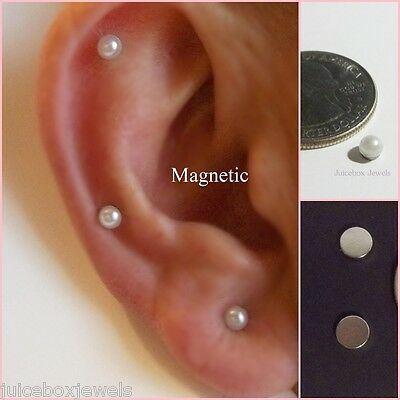 - MAGNETIC 4mm CREAM Faux Pearl Dome Stud Fake Non-Pierced Earrings 1 Pair #Mag119