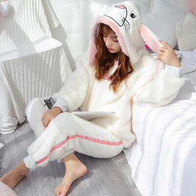 Nachtwäsche Flanell Pyjama Damen Winter Schlafanzug Thermo Hausanzug Langarm ()