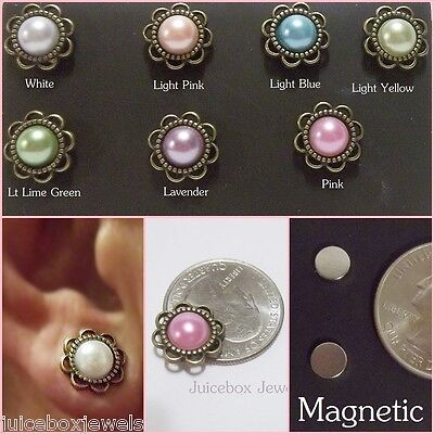 MAGNETIC Faux Pearl Button Dome BRONZE Setting 13mm Stud Clip on Earrings #M102