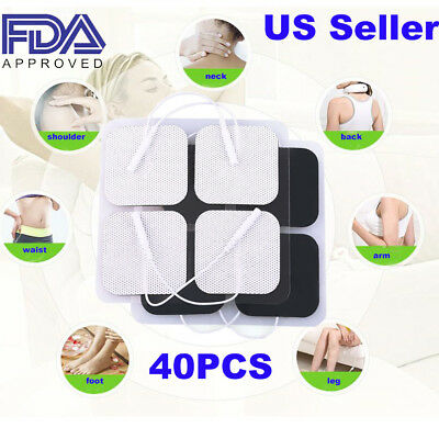 40 Replacement Pads for Massagers /Tens Units electrode pads 2x2Inch White Cloth