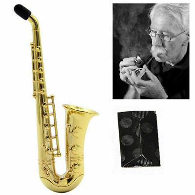 1pcs New Sax Saxophone Pipe Smoking Holder Golden Tobacco Cigarette Pipes