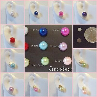 - MAGNETIC Faux PEARL 8mm Button Stud Clip on Fake Fashion 1 Pair Earrings USA