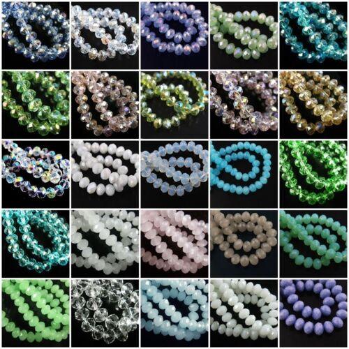 100er Glasslperlen Kristall Glasschliffperlen Rondell Facetten Perlen 6-18mm ld