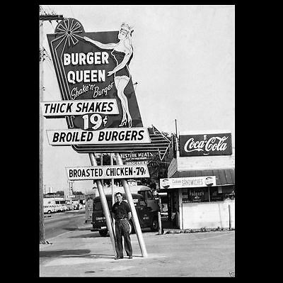 Burger Queen Diner PHOTO Vintage Restaurant Sign Burger Joint Coke Shakes