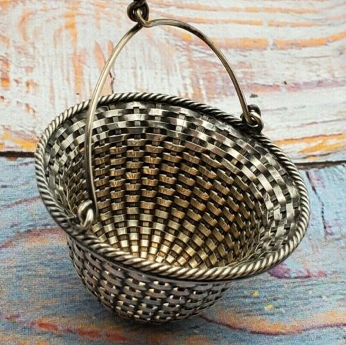 French Style Sterling Silver Tea Strainer, basket weave