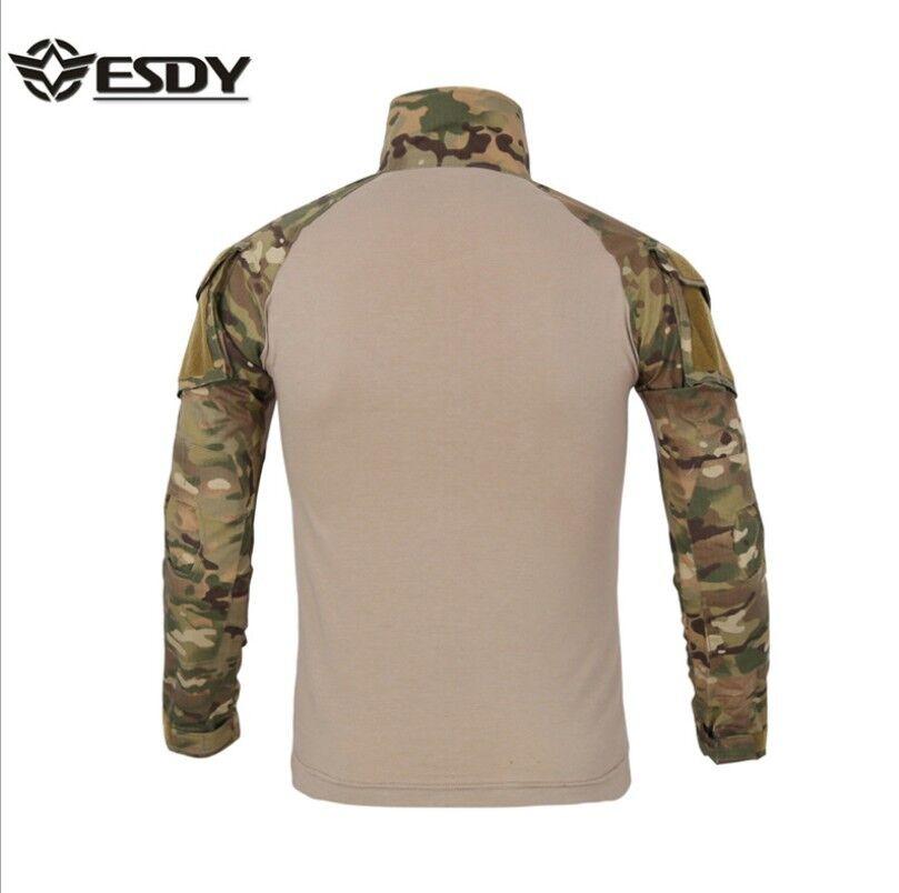 Herren Softair Bekleidung Combat Shirt Milit/är Tactical T-Shirt Langarm mit Rei/ßverschlusstaschen Gr XL Black Cp
