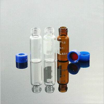 100 Pcspk Sample Vial 2ml Amber Vial 9-425 Screw Top Graduated With Writing Are
