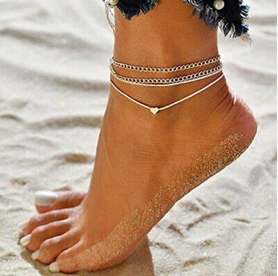New Women Fashion Love Heart Ankle Bracelet Foot Chain Silver White Anklet Gifts Anklets