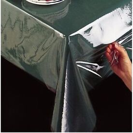 1mt 2mt CLEAR Transparent Tablecloth PVC Table Protector Vinly Wipe Dining Cover KITCHEN Garage