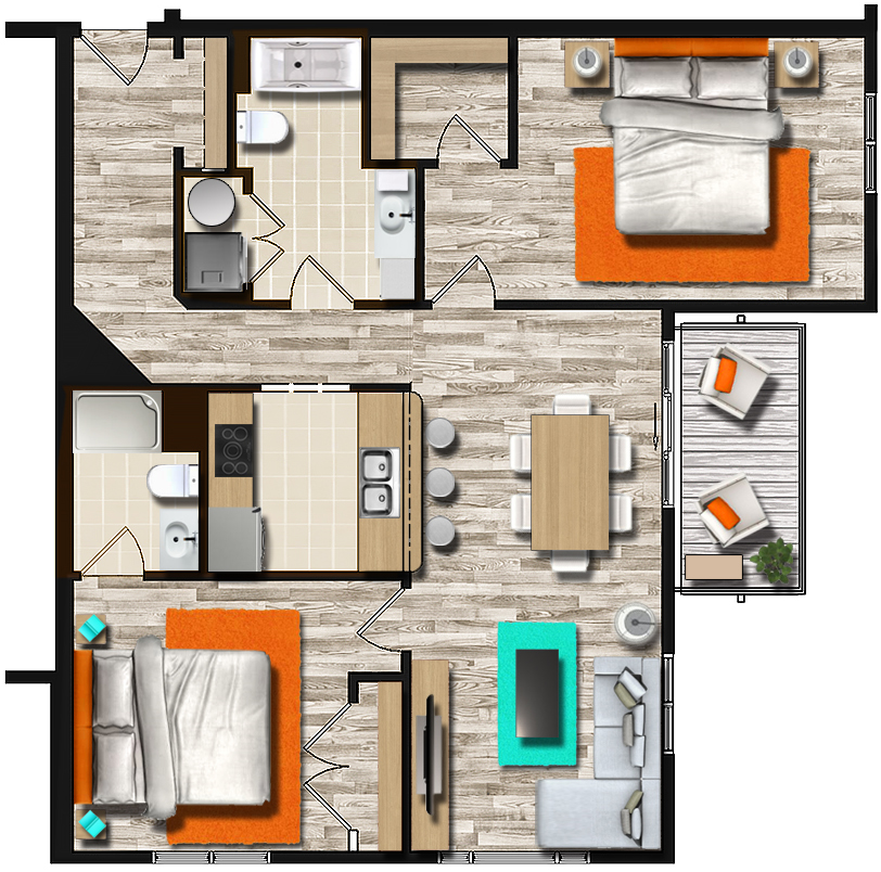 Monthly Rental Apartments: Senior Apartments, 2 Bedroom, 1 Month FREE RENT