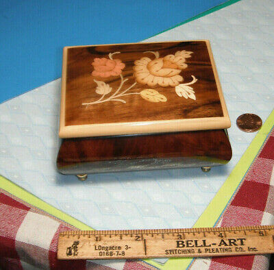 "Reuge Swiss Music Box Italy Inlaid Wood Box  Plays "" Edelweiss """